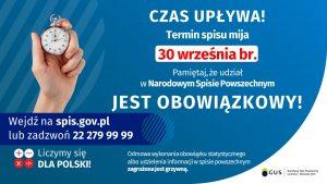 Plakat informacyjny dotyczacy terminu Narodowego Spisu Powszechnego