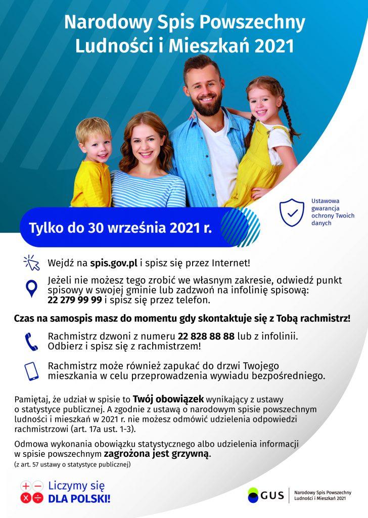 Plakat informacyjny dotyczący terminu Narodowego Spisu Powszachnego