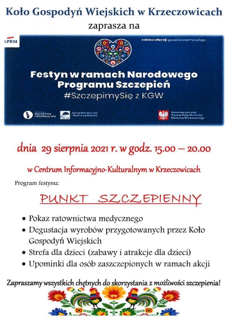 Plakat informacyjny dotyczący festynu organiazowanego przez Koło Gospodyń Wiejskich w Krzeczowicach
