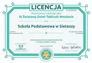 Światowy Dzień Tabliczki Mnozenia - licencja dla Szkoły Podstawowej w Sieteszy