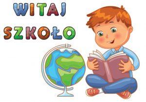 Chłopiec czyta książkę napis witaj szkoło