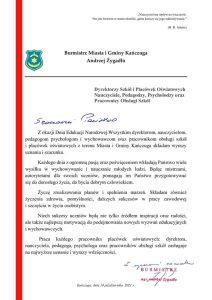 """Pismo - Życzenia Burmistrza Miasta i Gminy Kańczuga z okazji Dnia Edukacji Narodowej"""""""